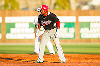 DJ Miller (8) of the Delaware State Hornets takes his lead off of second base against the Charlotte 49ers at Robert and Mariam Hayes Stadium on February 15, 2013 in Charlotte, North Carolina.  The 49ers defeated the Hornets 13-7.  (Brian Westerholt/Four Seam Images)
