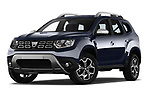 Stock pictures of low aggressive front three quarter view of a 2018 Dacia Duster Duster 5 Door SUV