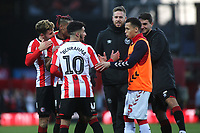 Ravel Morrison of Middlesbrough shakes hands with Said Benrahma of Brentford at the final whistle during Brentford vs Middlesbrough, Sky Bet EFL Championship Football at Griffin Park on 8th February 2020