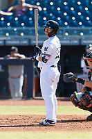 Peoria Javelinas second baseman Keston Hiura (23), of the Milwaukee Brewers organization, at bat during an Arizona Fall League game against the Glendale Desert Dogs at Peoria Sports Complex on October 22, 2018 in Peoria, Arizona. Glendale defeated Peoria 6-2. (Zachary Lucy/Four Seam Images)