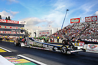 Feb 7, 2014; Pomona, CA, USA; NHRA top fuel dragster driver Brittany Force during qualifying for the Winternationals at Auto Club Raceway at Pomona. Mandatory Credit: Mark J. Rebilas-