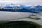 DOH, Who Were the First Americans. Southeast Alaska. Aerial view of Taku glacier,  Hunt for the First Americans