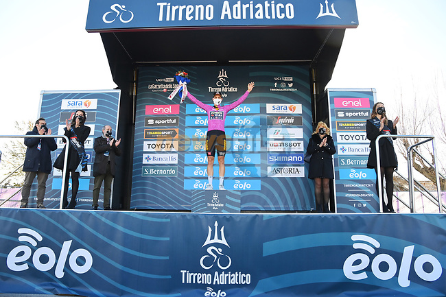 Wout Van Aert (BEL) Team Jumbo-Visma retains the points Maglia Ciclamino at the end of Stage 6 of Tirreno-Adriatico Eolo 2021, running 169km from Castelraimondo to Lido di Fermo, Italy. 15th March 2021. <br /> Photo: LaPresse/Gian Mattia D'Alberto | Cyclefile<br /> <br /> All photos usage must carry mandatory copyright credit (© Cyclefile | LaPresse/Gian Mattia D'Alberto)