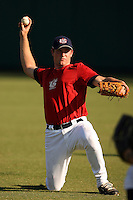 September 14, 2009:  Travis Harrison, one of many top prospects in action, taking part in the 18U National Team Trials at NC State's Doak Field in Raleigh, NC.  Photo By David Stoner / Four Seam Images