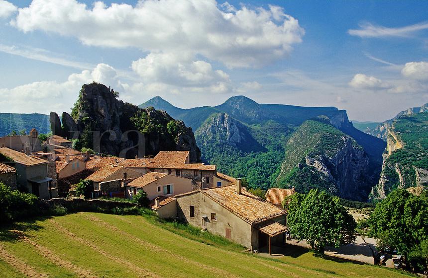 France. Village of Rougon overlooking the Gorges du Verdon. Var and Alpes de Haute Provence..
