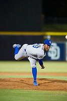 AZL Royals relief pitcher Jose De Leon (29) follows through on his delivery against the AZL Mariners on July 29, 2017 at Peoria Stadium in Peoria, Arizona. AZL Royals defeated the AZL Mariners 11-4. (Zachary Lucy/Four Seam Images)
