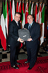 First Minister Alex Salmond, First Minister of Scotland presents His Excellency Mr.Hatem Seif El Nasr (Embassy of The Arab Republic of Egypt) with a gift following the dinner and reception held at Edinburgh Castle this evening..Pic Kenny Smith, Kenny Smith Photography.6 Bluebell Grove, Kelty, Fife, KY4 0GX .Tel 07809 450119,
