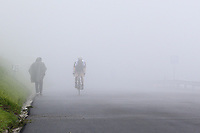 22nd May 2021, Monte Zoncolan, Italy; Giro d'Italia, Tour of Italy, route stage 14, Cittadella to Monte Zoncolan; A cyclist in the fog