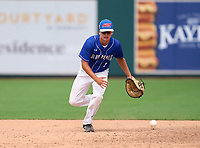 Clay Blue Devils first baseman Rich Long (5) during practice before the 42nd Annual FACA All-Star Baseball Classic on June 5, 2021 at Joker Marchant Stadium in Lakeland, Florida.  (Mike Janes/Four Seam Images)