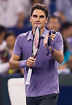 SHANGHAI, CHINA - OCTOBER 14:  Roger Federer of Switzerland celebrates match point to Andreas Seppi of Italy during day four of the 2010 Shanghai Rolex Masters at the Shanghai Qi Zhong Tennis Center on October 14, 2010 in Shanghai, China.  (Photo by Victor Fraile/The Power of Sport Images) *** Local Caption *** Roger Federer