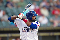 Round Rock Express outfielder Joey Butler (16) at bat against the Oklahoma City RedHawks during the Pacific Coast League baseball game on August 25, 2013 at the Dell Diamond in Round Rock, Texas. Round Rock defeated Oklahoma City 9-2. (Andrew Woolley/Four Seam Images)