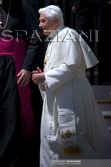 Pope Benedict XVI gestures during the weekly general audience in St. Peter's Square at the Vatican, Wednesday April 29, 2009.