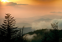 Smoky mountains: The view from Clingmans Dome at sunset in October, TN, USA