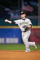 Norfolk Tides second baseman Corban Joseph (5) throws to first during a game against the Buffalo Bisons on July 18, 2016 at Coca-Cola Field in Buffalo, New York.  Norfolk defeated Buffalo 11-8.  (Mike Janes/Four Seam Images)