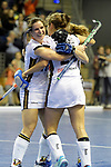 Berlin, Germany, February 10: During the FIH Indoor Hockey World Cup semi-final match between Belarus (dark blue) and Germany (white) on February 10, 2018 at Max-Schmeling-Halle in Berlin, Germany. Final score 2-3. (Photo by Dirk Markgraf / www.265-images.com) *** Local caption *** Luisa STEINDOR #6 of Germany, Marie MAEVERS #23 of Germany