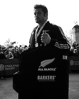Richie McCaw of New Zealand arrives at Twickenham Stadium for  the QBE Autumn International match between England and New Zealand at Twickenham on Saturday 16th November 2013 (Photo by Rob Munro)