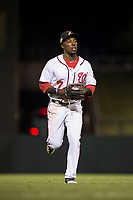 Salt River Rafters center fielder Daniel Johnson (7), of the Washington Nationals organization, jogs off the field between innings of an Arizona Fall League game against the Scottsdale Scorpions at Salt River Fields at Talking Stick on October 11, 2018 in Scottsdale, Arizona. Salt River defeated Scottsdale 7-6. (Zachary Lucy/Four Seam Images)