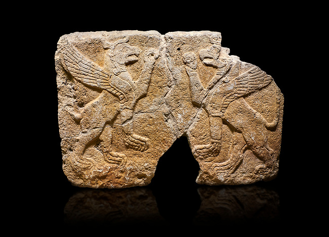 Hittite monumental relief sculpted orthostat stone panel Orthostats of a Procession. Limestone, Karkamıs, (Kargamıs), Carchemish (Karkemish), 900 700 BC. Griffin. Anatolian Civilizations Museum. Ankara.<br /> <br /> Bird - headed lions standing opposite on their hind legs (griffin). It is symmetric. <br /> <br /> Against a black background.