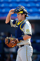 Michigan Wolverines catcher Zach Johnson #25 during practice before an exhibition game against the New York Mets at Tradition Field on February 24, 2013 in St. Lucie, Florida.  New York defeated Michigan 5-2.  (Mike Janes/Four Seam Images)