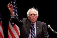 Democratic Presidential hopeful Senator Bernie Sanders of Vermont speaks during a campaign stop at the Town Hall Theater in New York City.