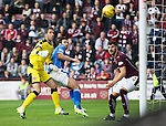 Hearts v St Johnstone...02.08.15   SPFL Tynecastle, Edinburgh<br /> Simon Lappin scores for saints <br /> Picture by Graeme Hart.<br /> Copyright Perthshire Picture Agency<br /> Tel: 01738 623350  Mobile: 07990 594431