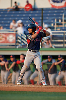 Lowell Spinners Alex Erro (57) at bat during a NY-Penn League game against the Batavia Muckdogs on July 10, 2019 at Dwyer Stadium in Batavia, New York.  Batavia defeated Lowell 8-6.  (Mike Janes/Four Seam Images)