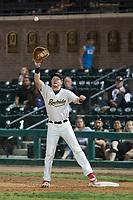 Visalia Rawhide first baseman Pavin Smith (6) prepares to catch a throw during a California League game against the Stockton Ports at Visalia Recreation Ballpark on May 8, 2018 in Visalia, California. Stockton defeated Visalia 6-2. (Zachary Lucy/Four Seam Images)