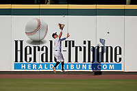 Bradenton Marauders outfielder Travis Swaggerty (12) catches a fly ball during a Florida State League game against the Charlotte Stone Crabs on July 30, 2019 at LECOM Park in Bradenton, Florida.  Bradenton defeated Charlotte 2-1.  (Mike Janes/Four Seam Images)