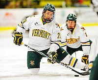 5 February 2011: University of Vermont Catamount forward Brett Leonard, a Senior from South Burlington, VT warms up prior to facing the Providence College Friars at Gutterson Fieldhouse in Burlington, Vermont. The Catamounts defeated the Friars 7-1 in the second game of their weekend series. Mandatory Credit: Ed Wolfstein Photo