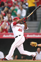 Torii Hunter #48 of the Los Angeles Angels bats against the Atlanta Braves at Angel Stadium in Anaheim,California on May 21, 2011. Photo by Larry Goren/Four Seam Images