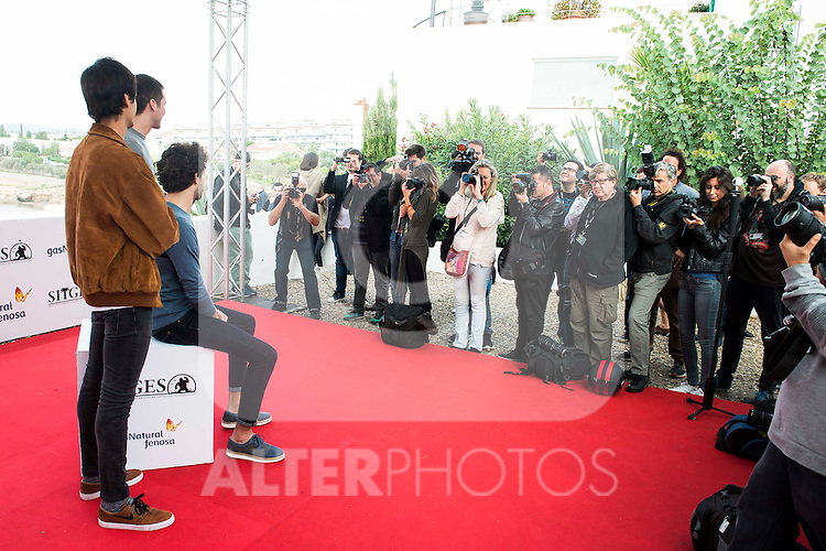 "Alex Maruny, Miki Esparbe and Jorge Suquet pose to the media during the presentation of the film ""Blood Red Carpet"" at Festival de Cine Fantastico de Sitges in Barcelona. October 13, Spain. 2016. (ALTERPHOTOS/BorjaB.Hojas)"