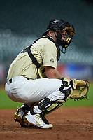 Stephen Scott (19) of the Vanderbilt Commodores on defense against the Houston Cougars during game nine of the 2018 Shriners Hospitals for Children College Classic at Minute Maid Park on March 3, 2018 in Houston, Texas. The Commodores defeated the Cougars 9-4. (Brian Westerholt/Four Seam Images)