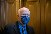 United States Senator Patrick Leahy (Democrat of Vermont) stops to talk with reporters as he makes his way to the elevator at the U.S. Capitol in Washington, DC, Tuesday, January 12, 2021. Credit: Rod Lamkey / CNP /MediaPunch