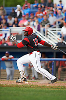 Batavia Muckdogs first baseman Lazaro Alonso (19) hits a two run double to left field in the bottom of the third inning during a game against the Auburn Doubledays on June 19, 2017 at Dwyer Stadium in Batavia, New York.  Batavia defeated Auburn 8-2 in both teams opening game of the season.  (Mike Janes/Four Seam Images)