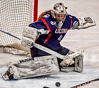 9 February 2018: University of Connecticut Huskie Goaltender Annie Belanger, a Senior from Sherbrooke, Quebec, makes a third period save against the University of Vermont Catamounts at Gutterson Fieldhouse in Burlington, Vermont. The Lady Cats defeated the Huskies 1-0 the first game of their weekend Hockey East series. Mandatory Credit: Ed Wolfstein Photo *** RAW (NEF) Image File Available ***