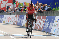 22nd April 2021;  Cycling Tour des Alpes Stage 4, Naturns/Naturno to Pieve di Bono, Italy on 22nd; Nairo Quintana Arkea Samsic at the finish line