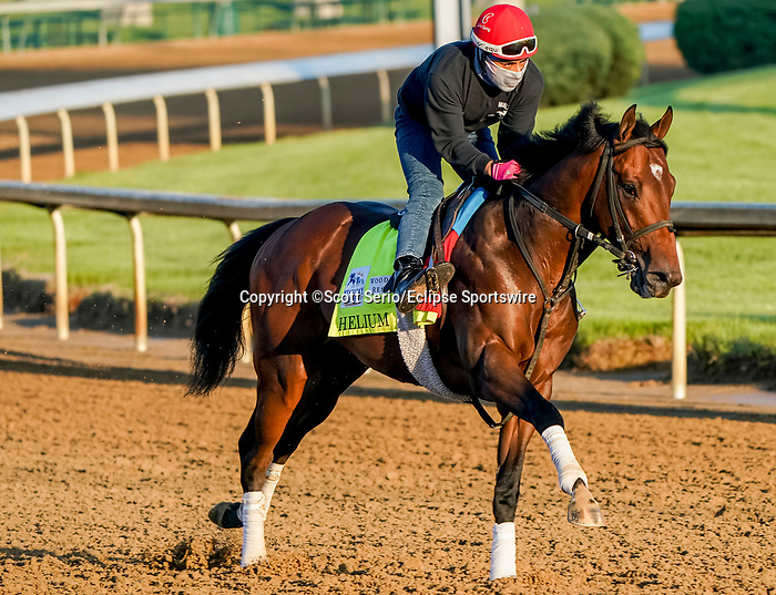 April 26, 2021: Helium, trained by trainer Mark Casse, exercises in preparation for the Kentucky Derby at Churchill Downs on April 26, 2021 in Louisville, Kentucky. Scott Serio/Eclipse Sportswire/CSM