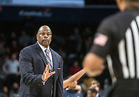 WASHINGTON, DC - JANUARY 28: Patrick Ewing head coach of Georgetown talks to the referee during a game between Butler and Georgetown at Capital One Arena on January 28, 2020 in Washington, DC.