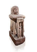 "Ancient Egyptian statue of Qen, priest of Anukis, sanstone, New Kingdom, 19th Dynasty, (1292-1191 BC), Isalnd of sehel. Egyptian Museum, Turin. white background.<br /> <br /> Qen was a ""gods father of Amon of Elephantine and of Khnum, Satis and Anukis"". Elephantine is a Greek name of the present day Aswan. The naos, shrine, contains a female wearing a high plumed headdress. She is Anukis goddess of the Nile flood. With the ram-heahed god Khum and the goddess Satis, she formed the triad of the Elephantine. The statue probably comes from the temple of the Triad on Sehel Island just south of Elephantine.. Drovetti collection. Cat 3016."