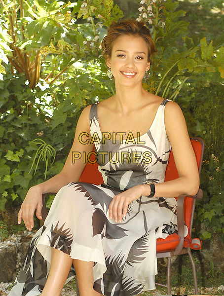 "JESSICA ALBA.Photocall for ""Fantastic Four: Rise of the Silver Surfer"", Hotel De Russie, Rome, Italy.June 8th, 2007.full sitting length black white cream grey gray pattern dress christian louboutin peeptoe peep toe mary janes shoes .CAP/CAV.©Luca Cavallari/Capital Pictures"