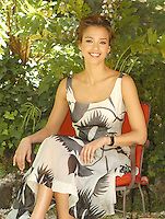 """JESSICA ALBA.Photocall for """"Fantastic Four: Rise of the Silver Surfer"""", Hotel De Russie, Rome, Italy.June 8th, 2007.full sitting length black white cream grey gray pattern dress christian louboutin peeptoe peep toe mary janes shoes .CAP/CAV.©Luca Cavallari/Capital Pictures"""