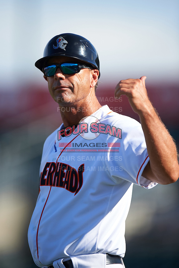 Jupiter Hammerheads manager Randy Ready (5) during a game against the Palm Beach Cardinals on August 13, 2016 at Roger Dean Stadium in Jupiter, Florida.  Jupiter defeated Palm Beach 6-2.  (Mike Janes/Four Seam Images)