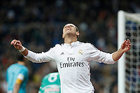 Real Madrid´s Chicharito celebrates a goal during Spanish King Cup match between Real Madrid and Cornella at Santiago Bernabeu stadium in Madrid, Spain.December 2, 2014. (NortePhoto/ALTERPHOTOS/Victor Blanco)