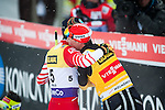HOLMENKOLLEN, OSLO, NORWAY - March 16: (L-R) Wilhelm Denifl of Austria (AUT) congratulates Eric Frenzel of Germany (GER) after the cross country 15 km (2 x 7.5 km) competition at the FIS Nordic Combined World Cup on March 16, 2013 in Oslo, Norway. (Photo by Dirk Markgraf)