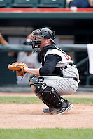 June 25, 2009:  Catcher Steve Lerud of the Altoona Curve warms up the pitcher during a game at Jerry Uht Park in Erie, PA.  The Altoona Curve are the Eastern League Double-A affiliate of the Pittsburgh Pirates.  Photo by:  Mike Janes/Four Seam Images