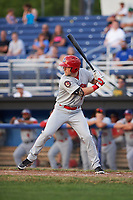 Auburn Doubledays left fielder Jonathan Pryor (7) at bat during a game against the Batavia Muckdogs on July 6, 2017 at Dwyer Stadium in Batavia, New York.  Auburn defeated Batavia 4-3.  (Mike Janes/Four Seam Images)