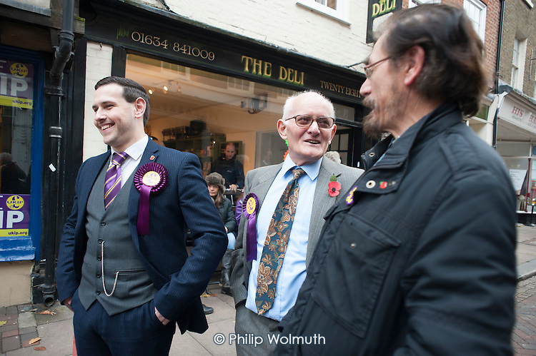 Outside the Rochester UKIP HQ.  UKIP supporters from other parts of the UK campaign in Rochester before the Rochester and Strood by-election.