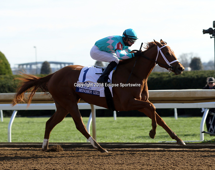 LEXINGTON, KY - APR 07: Monomoy Girl (Florent Geroux) wins the G1 Central Bank Ashland Stakes at Keeneland, Lexington, KY. Owner M. Dubb, Monomoy Stables LLC; The Elkstone Group LLC; and Bethlehem Stables LLC. Trainer Brad Cox. By Tapizar x Drumette, by Henny Hughes. (Photo by Mary M. Meek/Eclipse Sportswire/Getty Images)