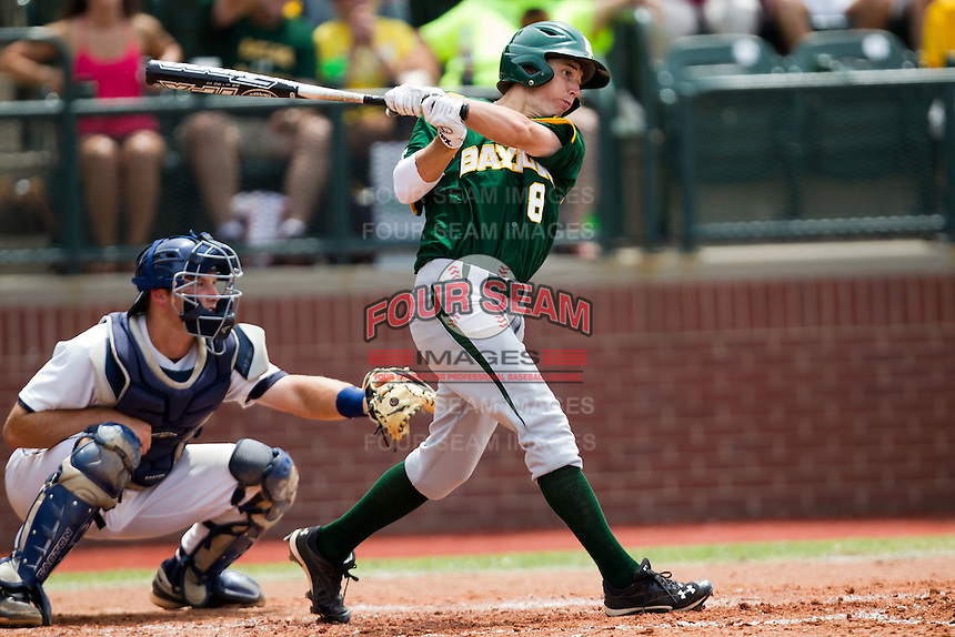 Baylor Bears second baseman Lawton Langford #8 swings during the NCAA Regional baseball game against Oral Roberts University on June 3, 2012 at Baylor Ball Park in Waco, Texas. Baylor defeated Oral Roberts 5-2. (Andrew Woolley/Four Seam Images)