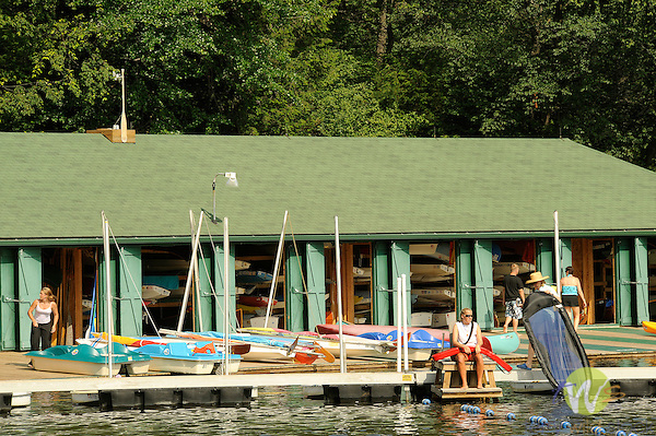 Eagles Mere Boat house in July.